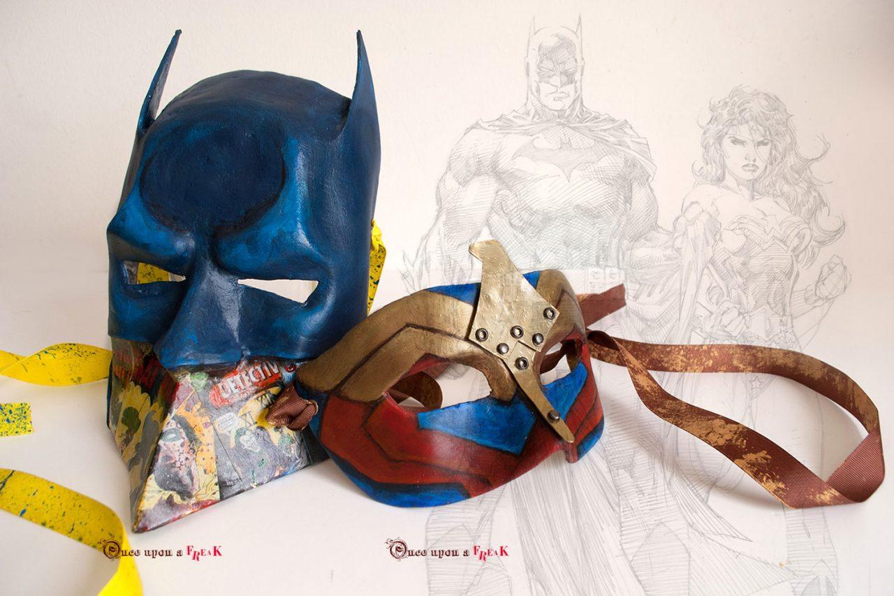 mascaras venecianas batman y wonder woman