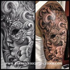 Tatuaje antifaz veneciano Darren Wrightta