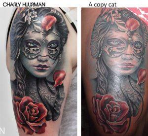 Original y copia de muchacha con mascara y rosas de Charly Huurman