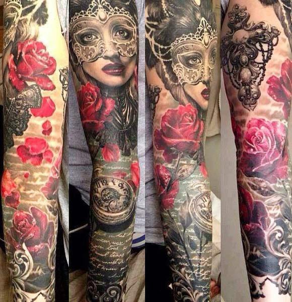Tatuaje máscara y rosas. Ellen Westholm