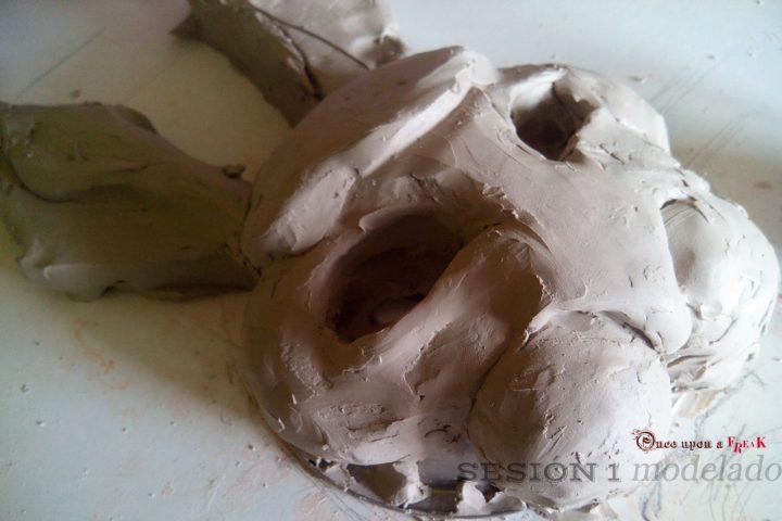 modelado barro mascara conejo